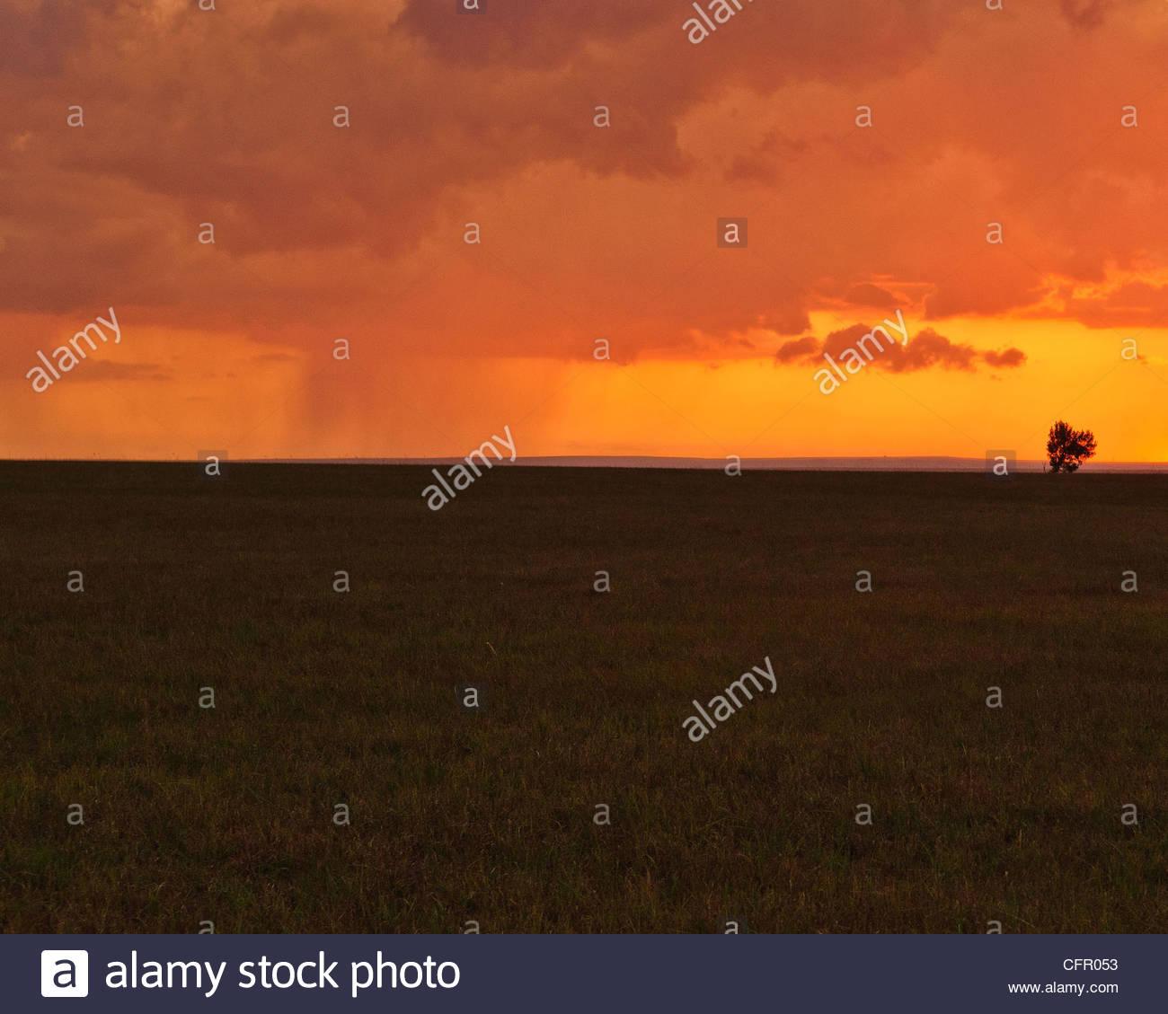 Storm Clouds over Field at Sunset, Flint Hills, Hamilton, KS., Sept. 10, 2011 - Stock Image