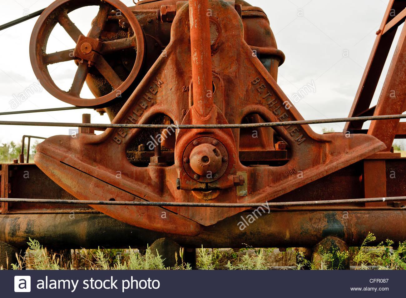 Old Bethlehem Steel Pump Jack, Flint Hills, Hamilton, KS., Sept. 10, 2011 - Stock Image
