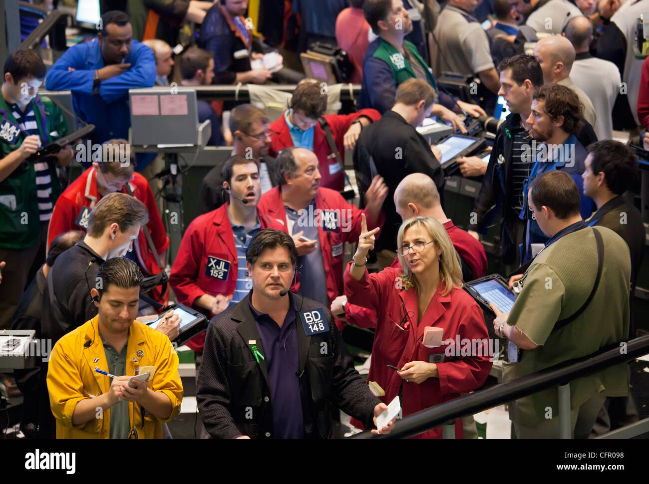 Chicago, Illinois - Commodities trading on the floor of the Chicago Mercantile Exchange. - Stock Image