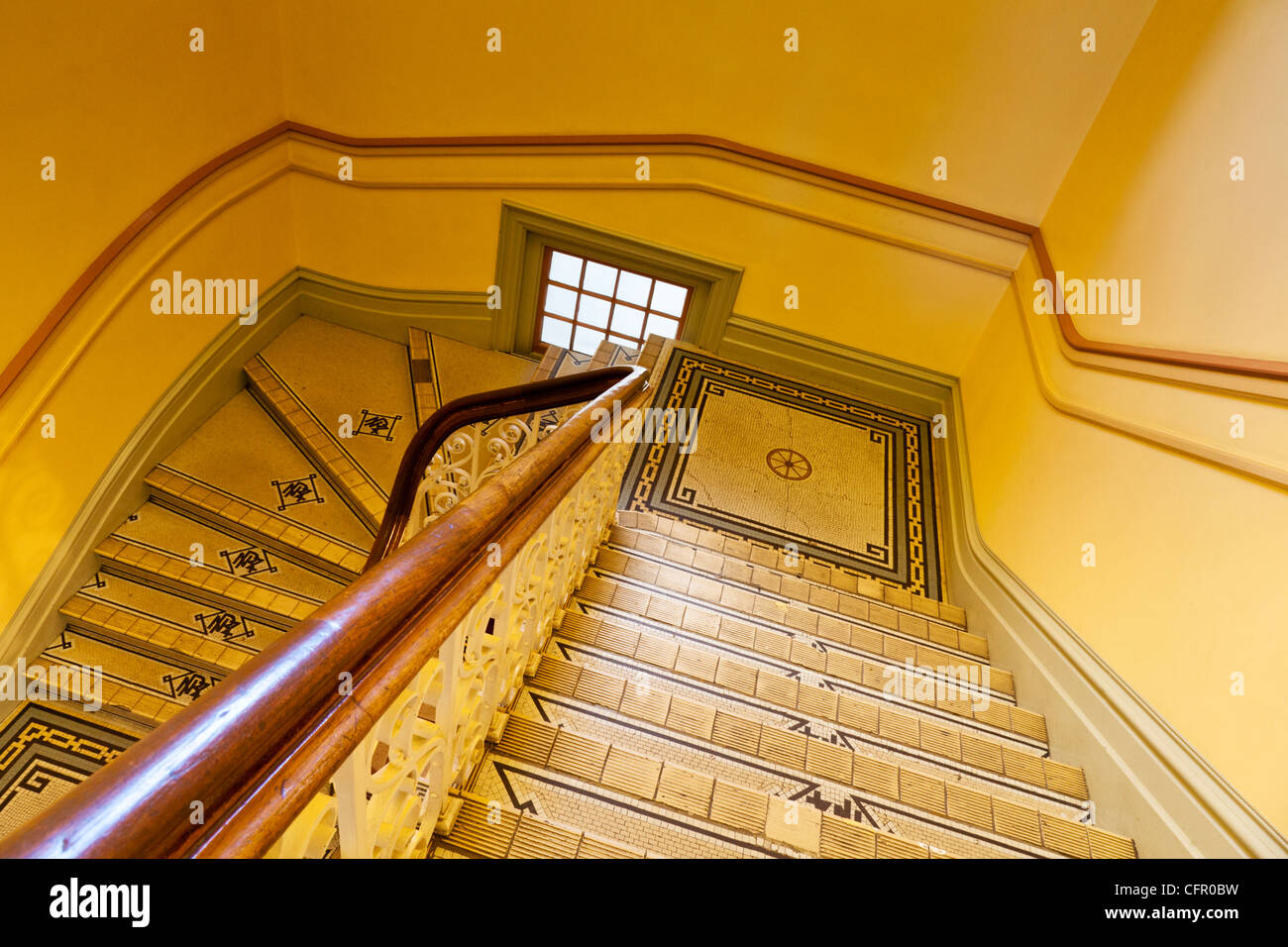 Staircase in  Dunedin Railway Station, Otago, New Zealand. - Stock Image