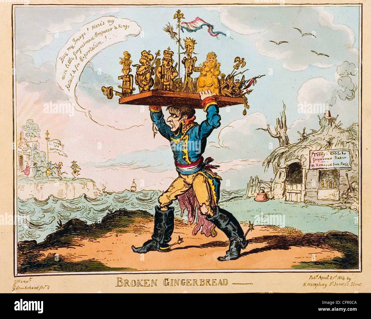 BROKEN GINGERBREAD Cartoon by George Cruickshank about 1814 showing Napoleon with his puppet rulers as gingerbread - Stock Image
