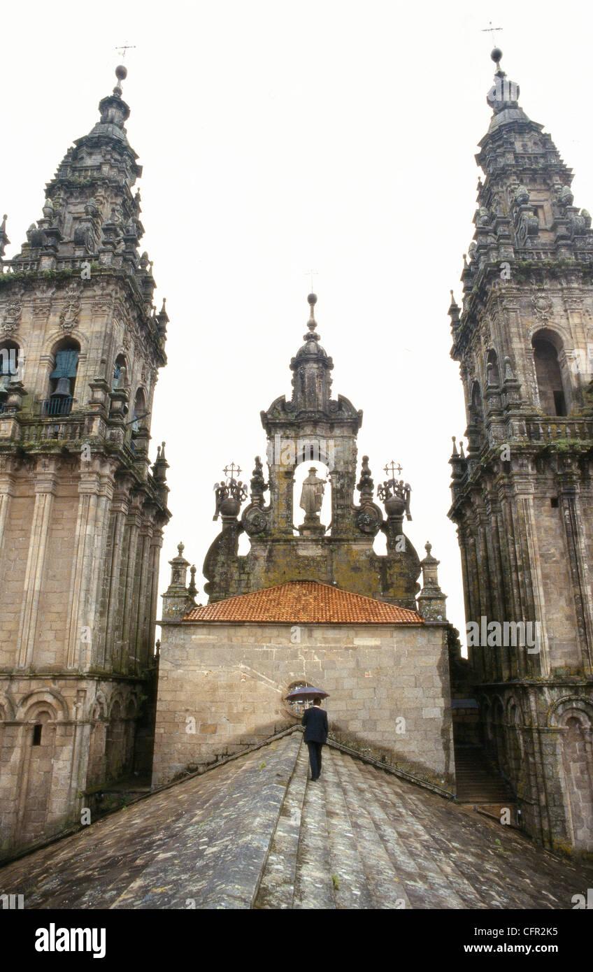 Tejado de la Catedral de Santiago de Compostela. La Coruña. Stock Photo