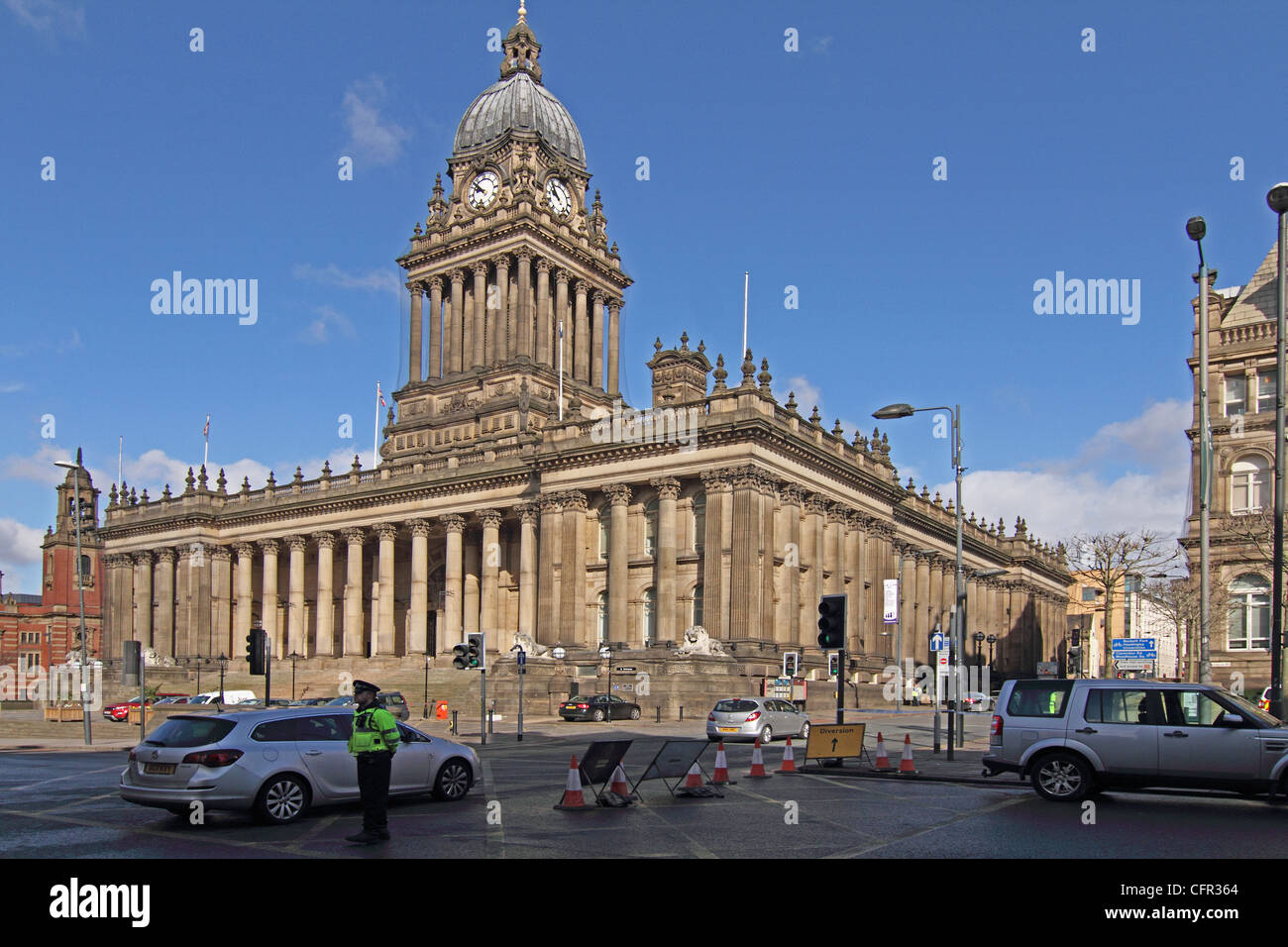 Leeds town hall the headrow Leeds city centre - Stock Image