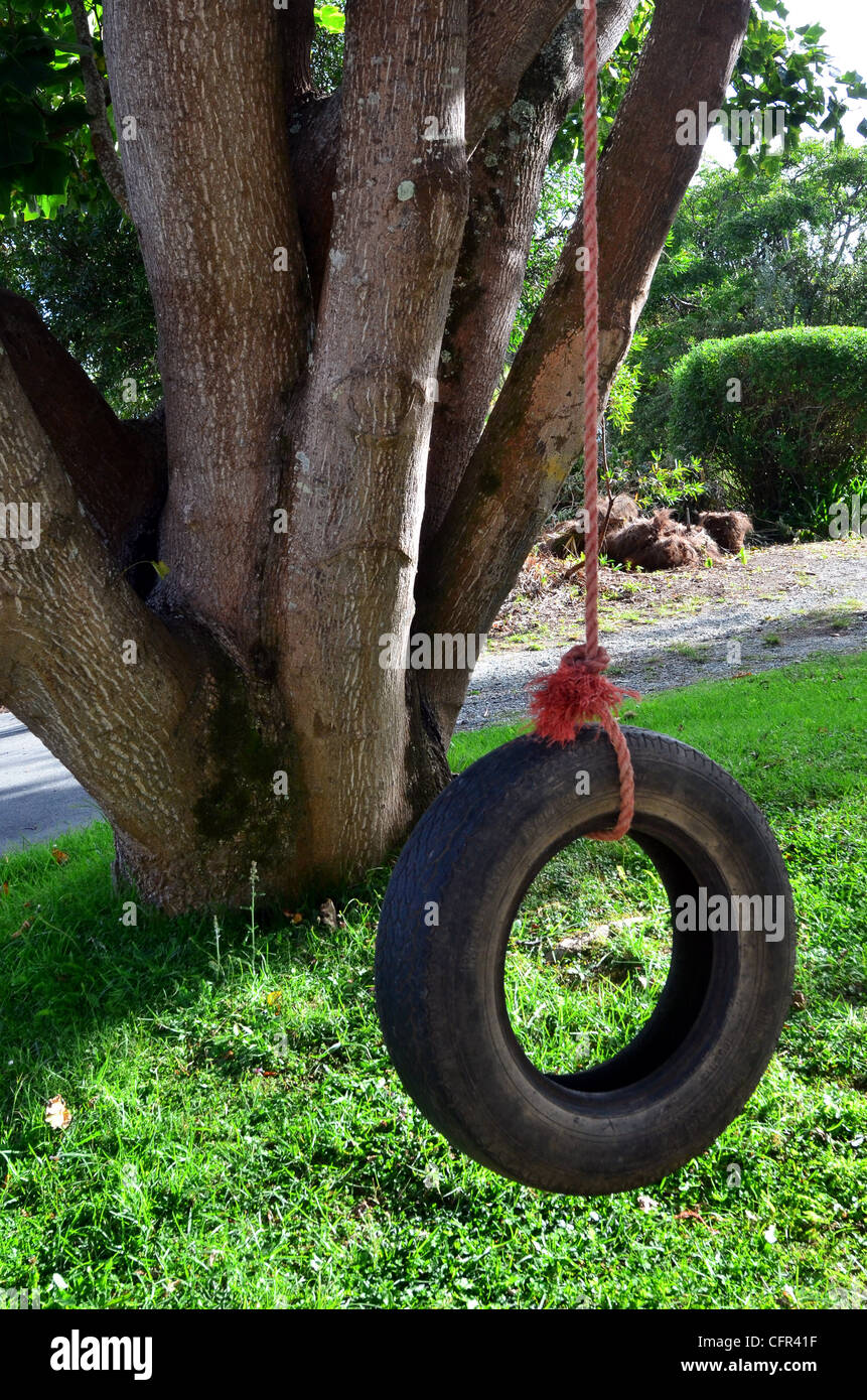Car Tire Used As Kids Swing On Trees In The Garden Stock Photo Alamy