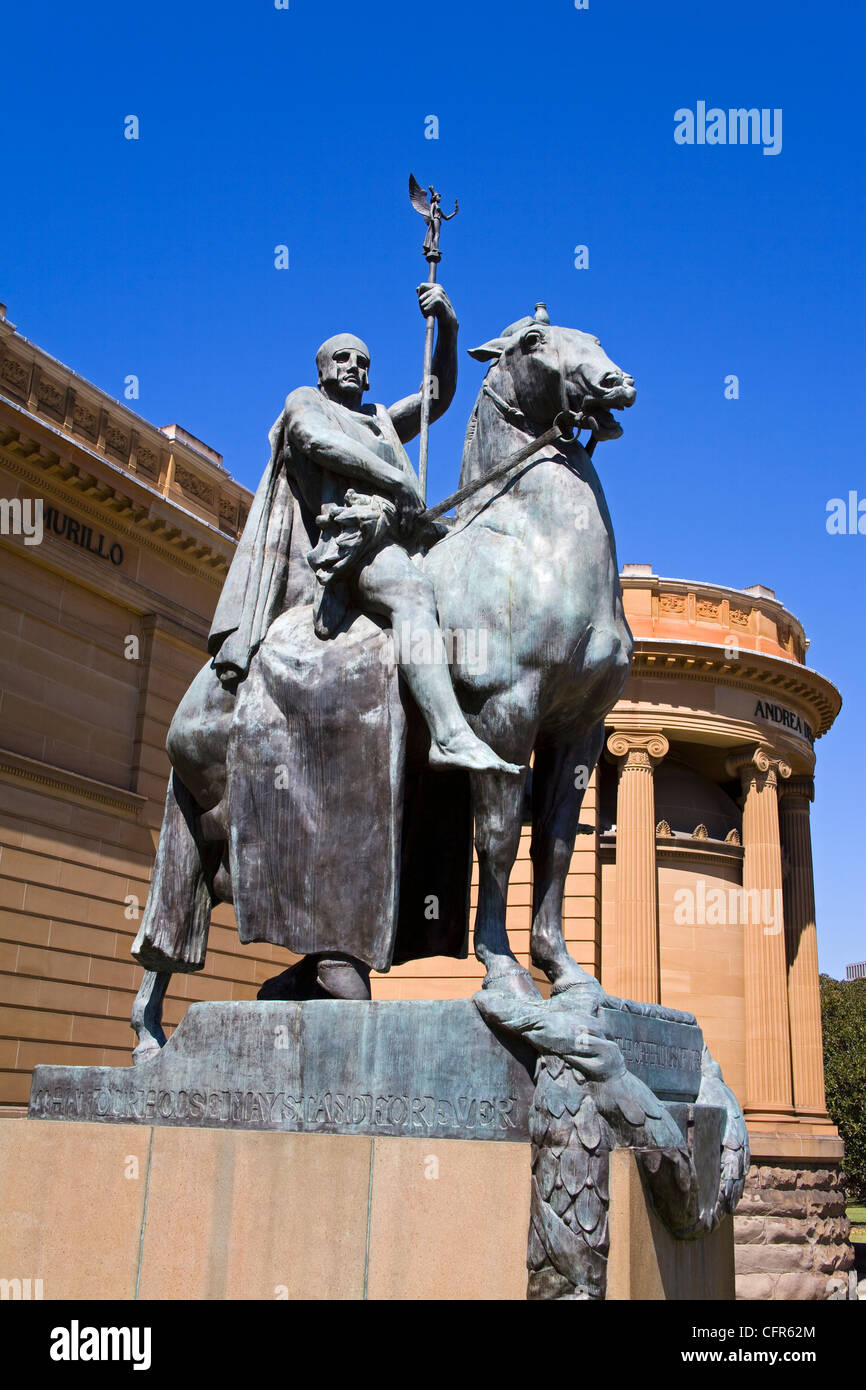 The Offerings of War statue outside Art Gallery of New South Wales, The Domain Park, Sydney, New South Wales, Australia, - Stock Image