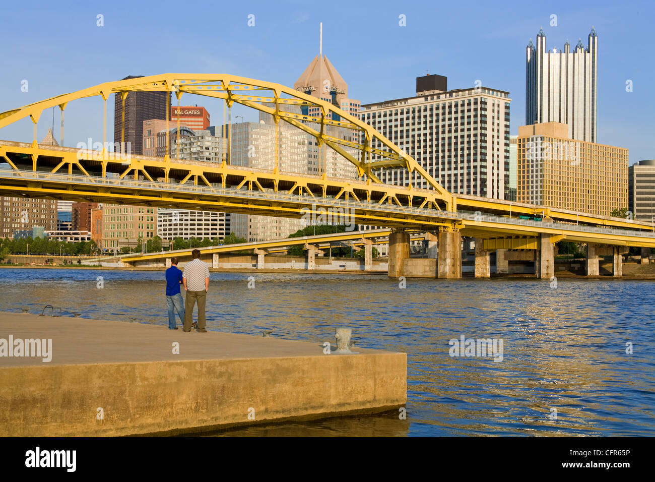 Fort Duquesne Bridge over the Allegheny River, Pittsburgh, Pennsylvania, United States of America, North America - Stock Image