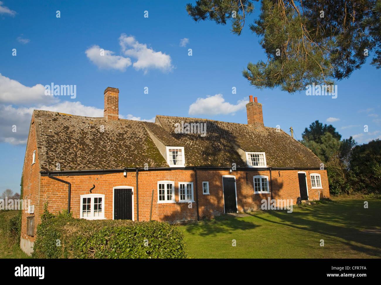 Former cottages merged to form village hall, The Trust Hall, Shottisham, Suffolk, England - Stock Image