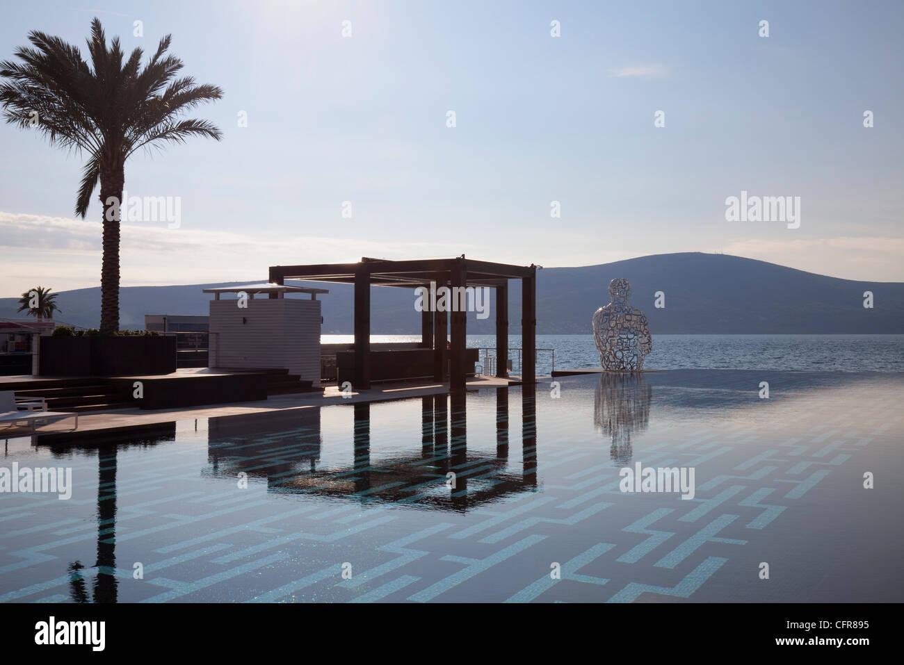 The Lido Mar swimming pool at the newly developed Marina in Porto Montenegro, Montenegro, Europe - Stock Image