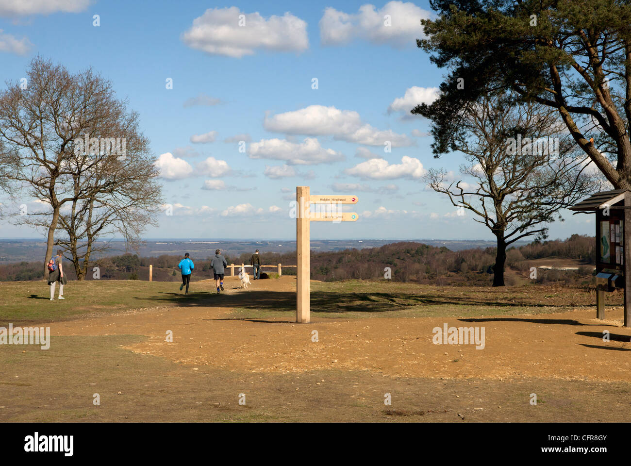 Signpost marking the new trails from the Devil's Punchbowl viewpoint following the completion of the A3 Hindhead - Stock Image