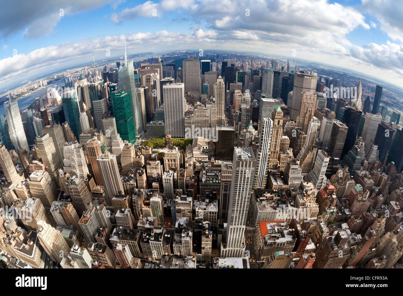 Manhattan view from the  Empire State Building, New York City, New York, United States of America, North America - Stock Image