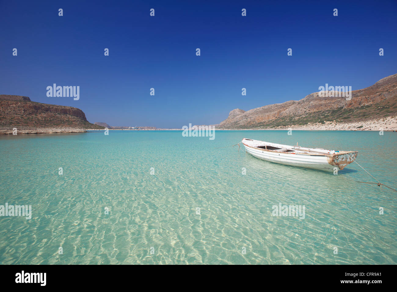 Balos Bay and Gramvousa, Chania, Crete, Greek Islands, Greece, Europe Stock Photo