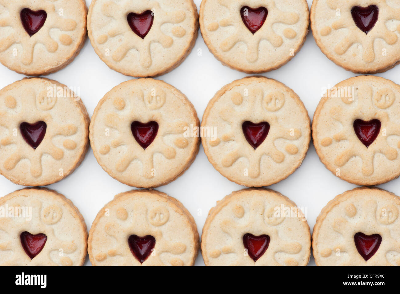 Jammy Dodgers biscuit pattern - Stock Image