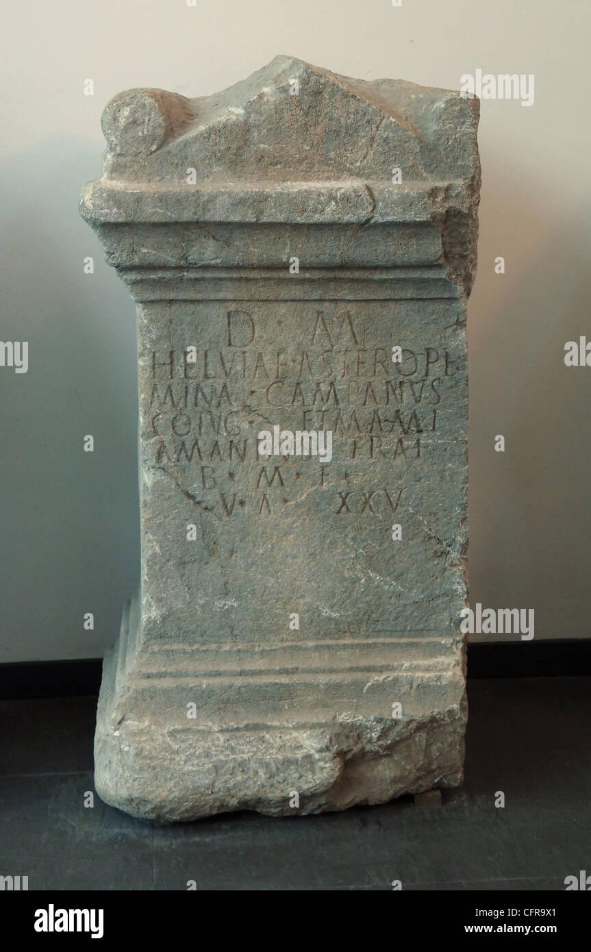 milestone ancient Roman stone archaeological National Museum of Archaeology in Grumento, Basilicata, Italy Stock Photo