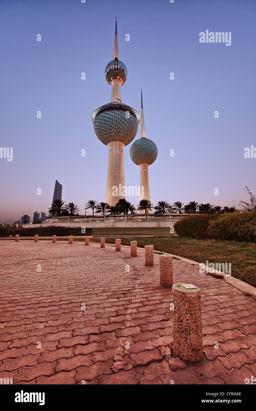 The iconic landmark of the Kuwait Towers in Kuwait. - Stock Image