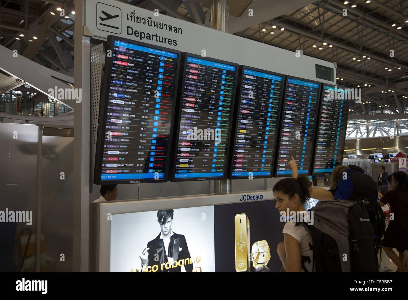 Depatures board at Suvarnabhumi airport, Bangkok, Thailand, - Stock Image