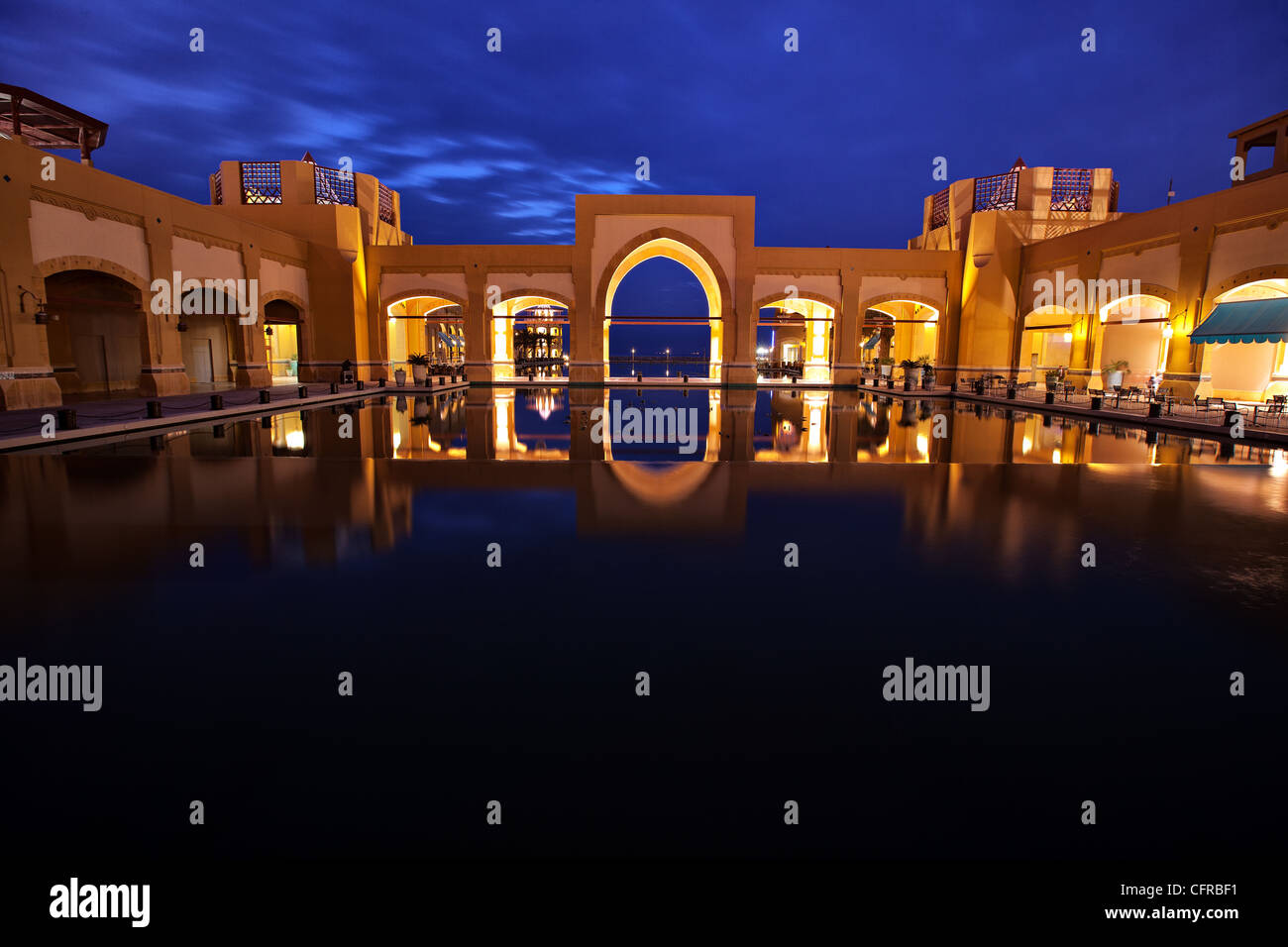 Blue sky early in the morning at the city plaza in Fahaheel, Kuwait. - Stock Image