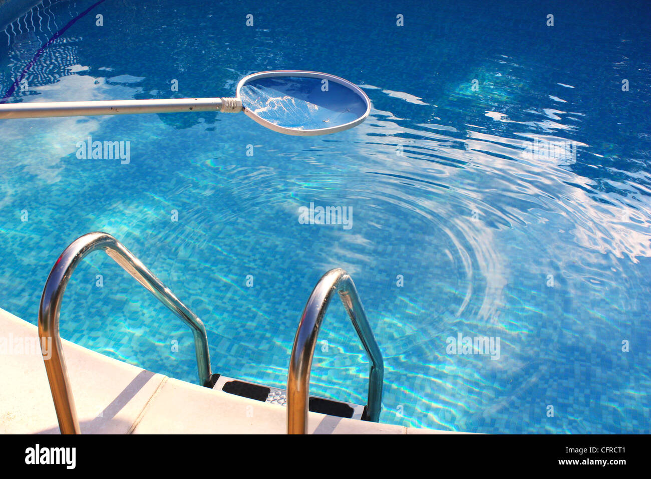 Cleaning swimming pool water with a net Stock Photo ...