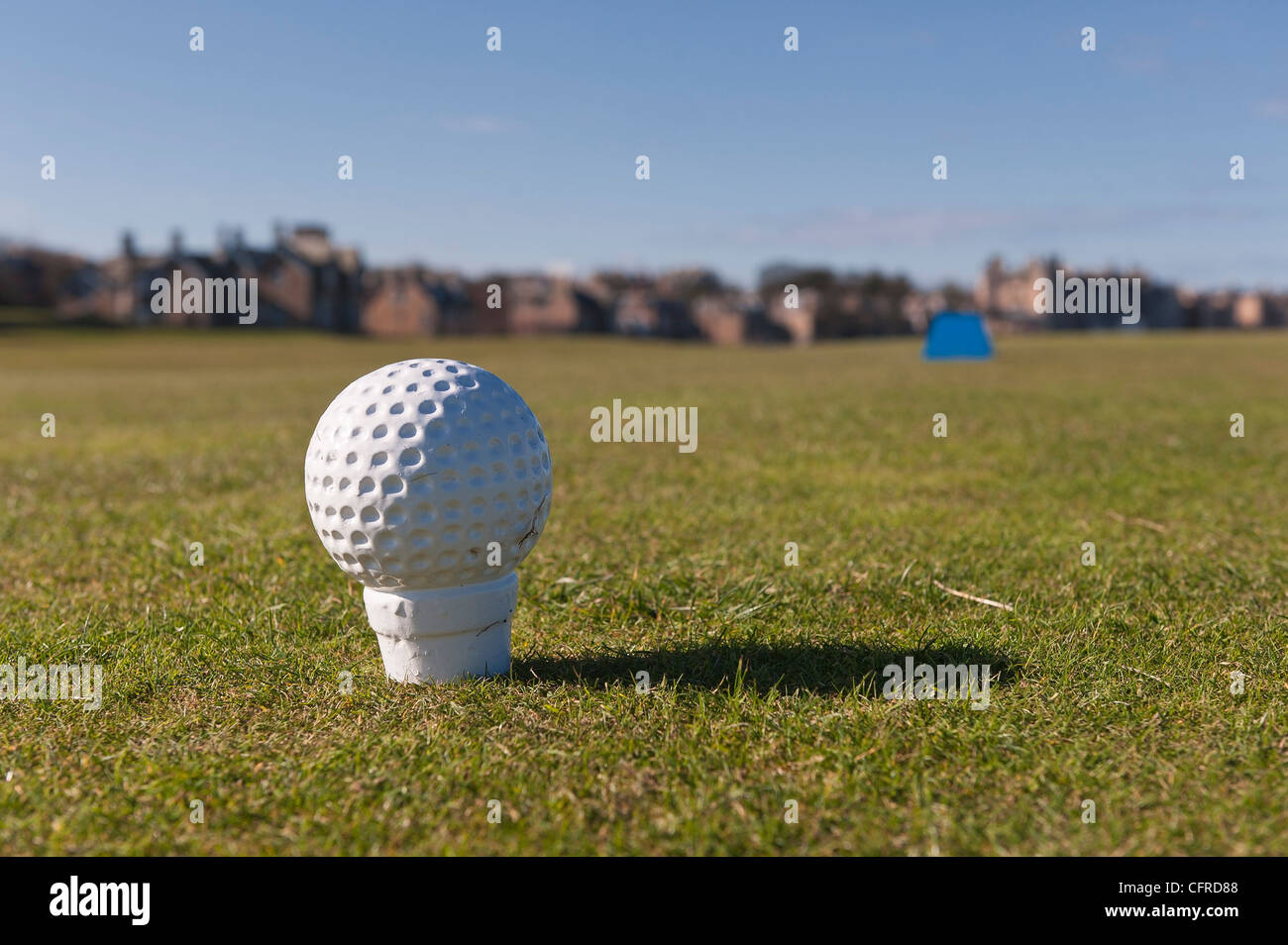 Golf ball shaped marker on the tee of a golf course. - Stock Image