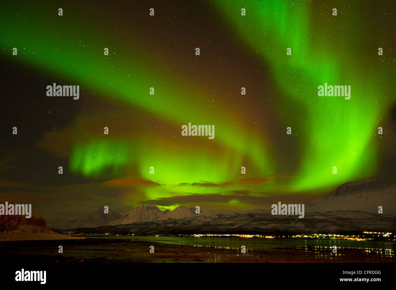 Aurora borealis or northern lights seen over the Lyngen Alps and Ullsfjord, Troms, North Norway, Europe - Stock Image