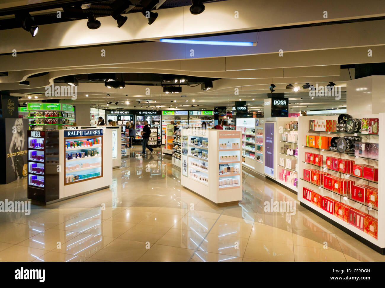 Duty free perfumes shops at the departures lounge Manchester International Airport  England UK GB EU Europe - Stock Image