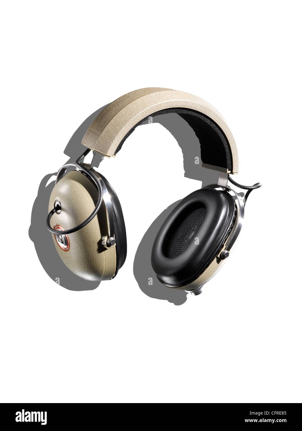 Headphones on a white background with creative shadow Stock Photo