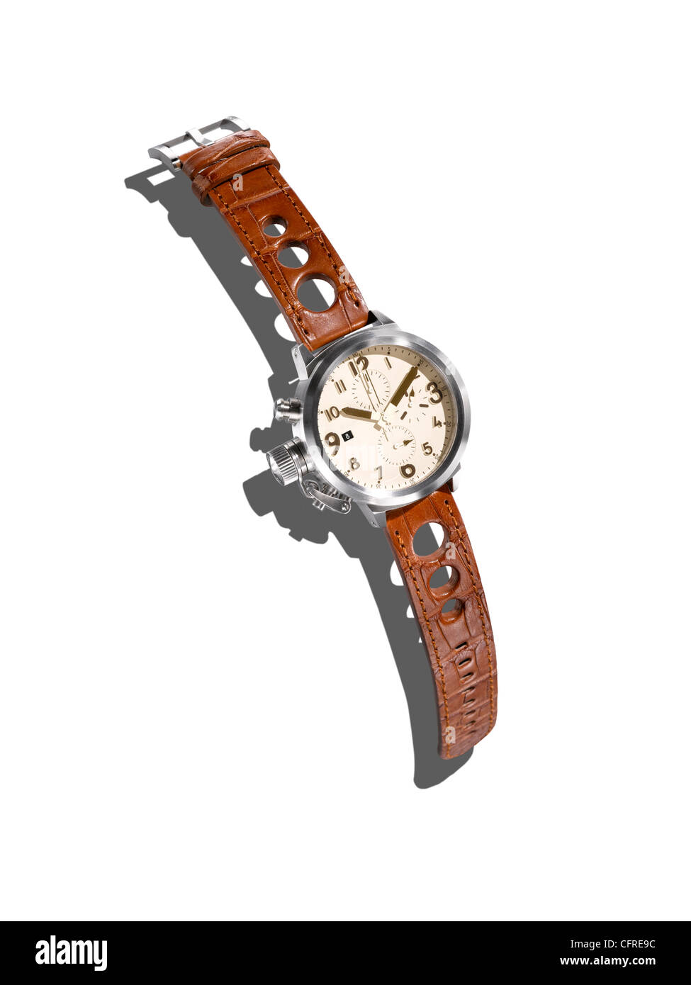 A modern watch with a leather strap on a white background with creative shadow. - Stock Image