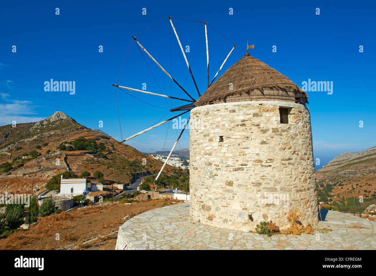 Windmill, Naxos, Cyclades Islands, Greek Islands, Greece, Europe - Stock Image