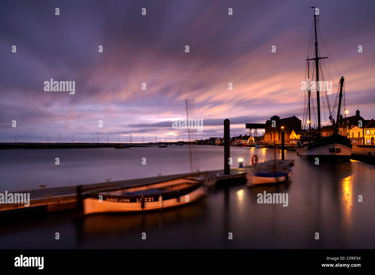 A moody winter morning showing the quay at Wells next the Sea, Norfolk, England, United Kingdom, Europe - Stock Image