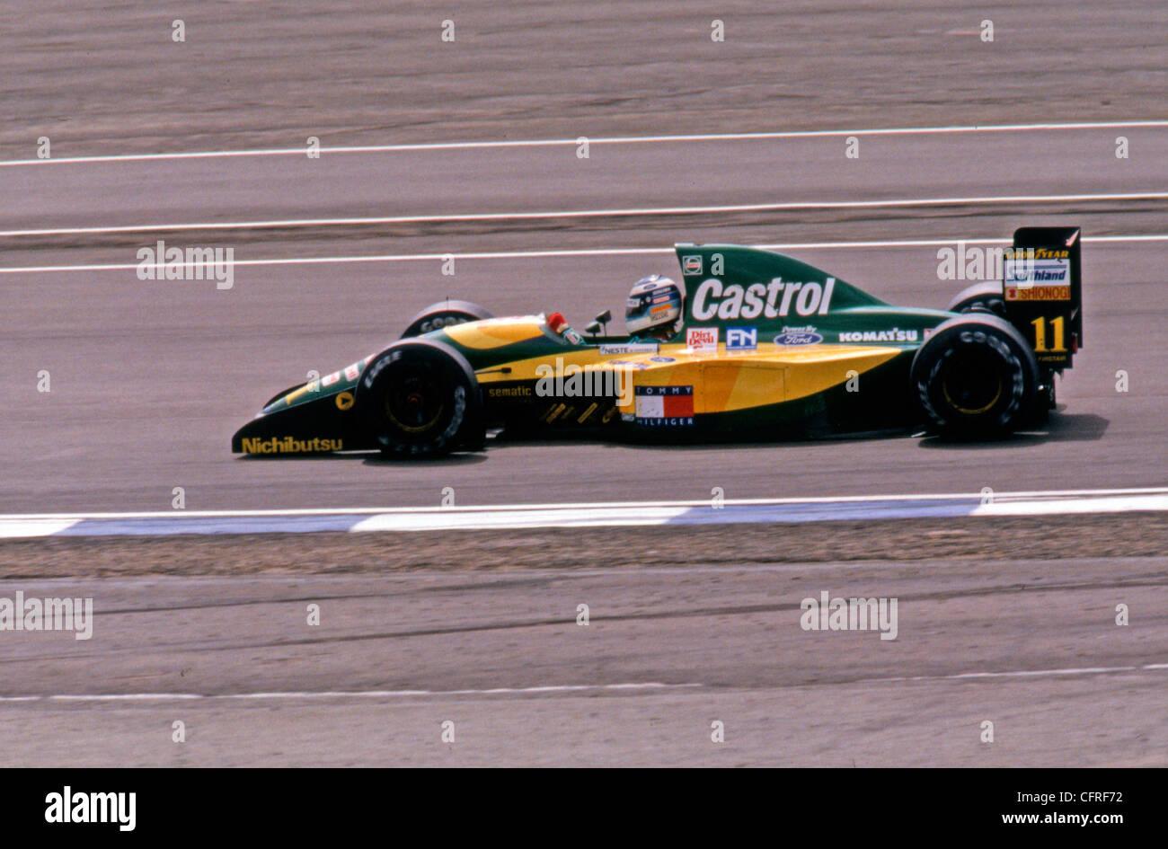 Mikka Hakkinen in Lotus Ford 107 1992 British Grand Prix - Stock Image