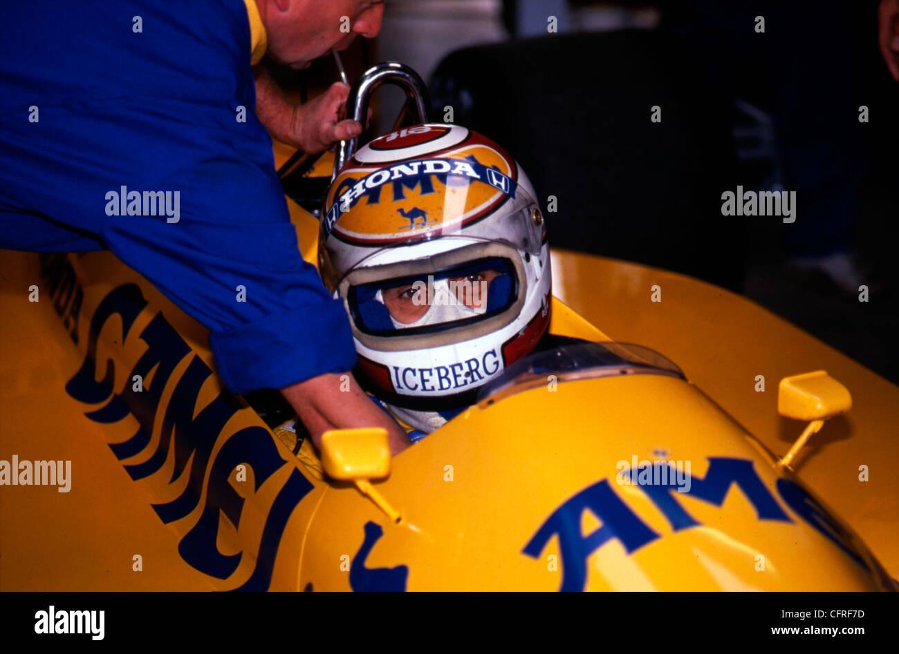 Nelson Piquet  in Camel Lotus Honda 100T at British Grand Prix Silverstone , July 1988 - Stock Image