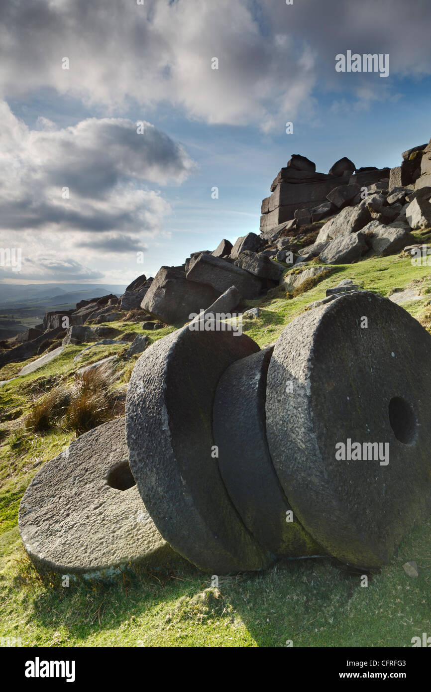 Vertical Photograph of Millstones at Stanage Edge in the Peak District National Park - Stock Image