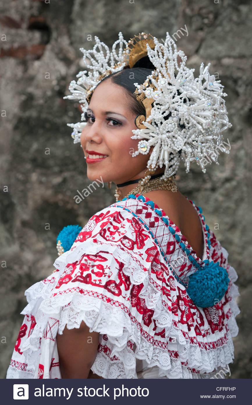 Panamanian woman wearing a pollera, Panama's national dress, Panama City, Panama, Central America Stock Photo