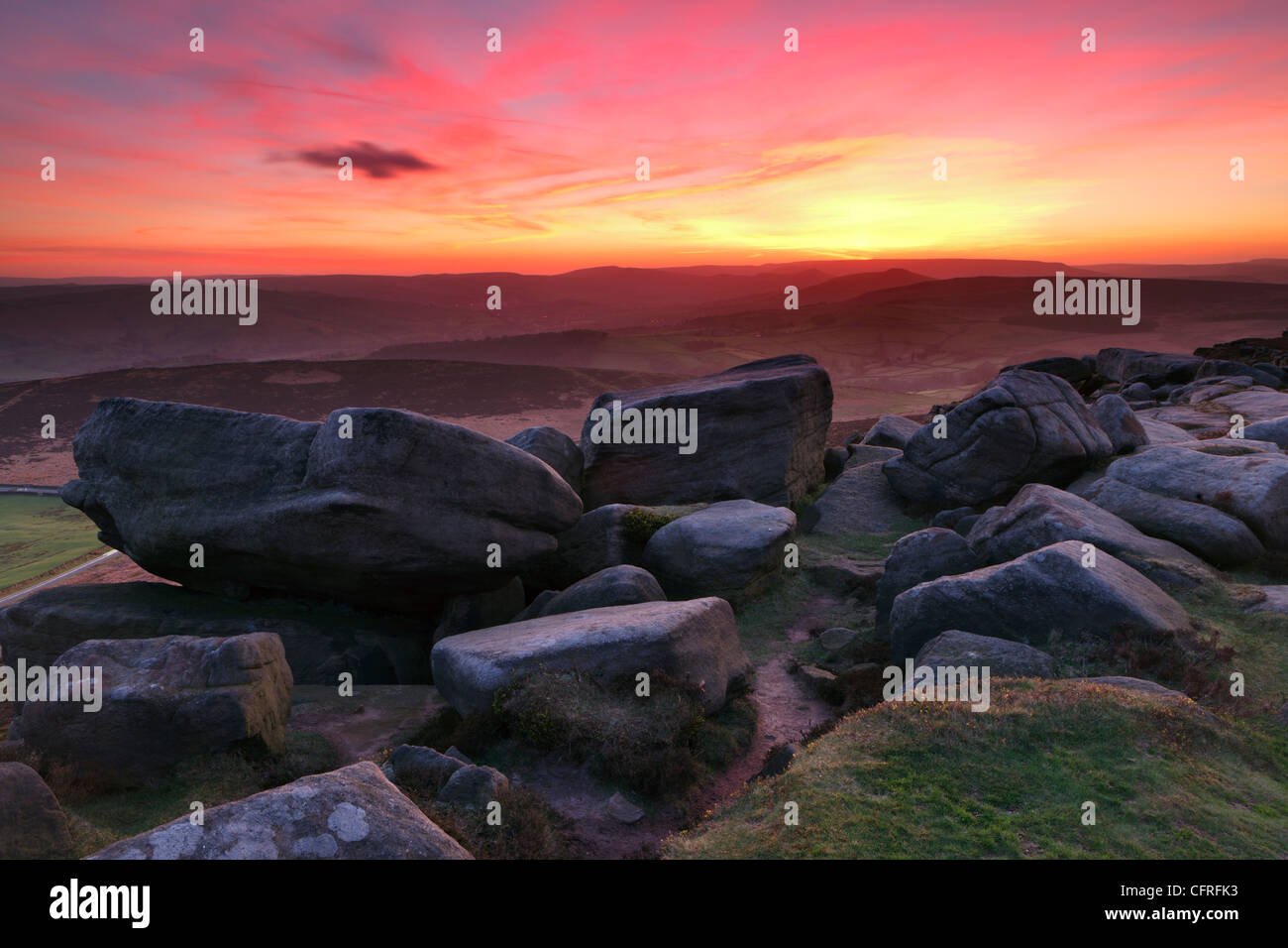 Horizontal Photograph of the View from Stanage Edge in the Peak District National Park - Stock Image