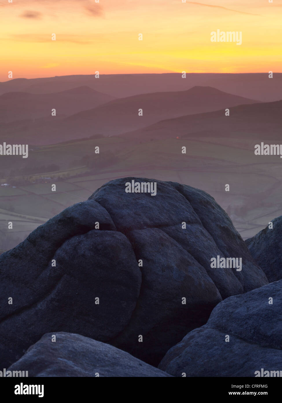 Vertical Photography of the View from Stanage Edge in the Peak District National Park - Stock Image