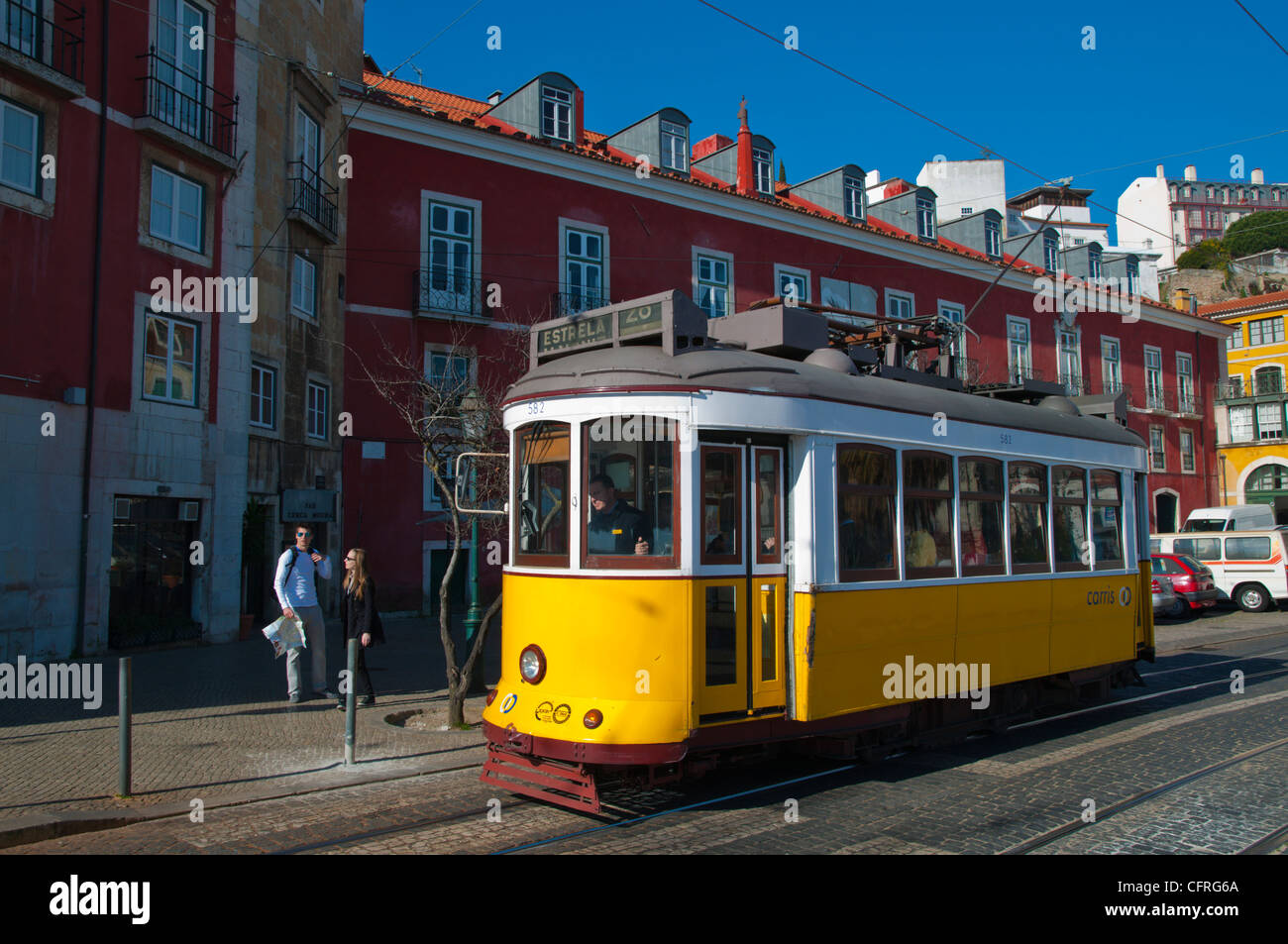 Tram 28 in Rua do Limoeiro street Alfama district central Lisbon Portugal Europe - Stock Image
