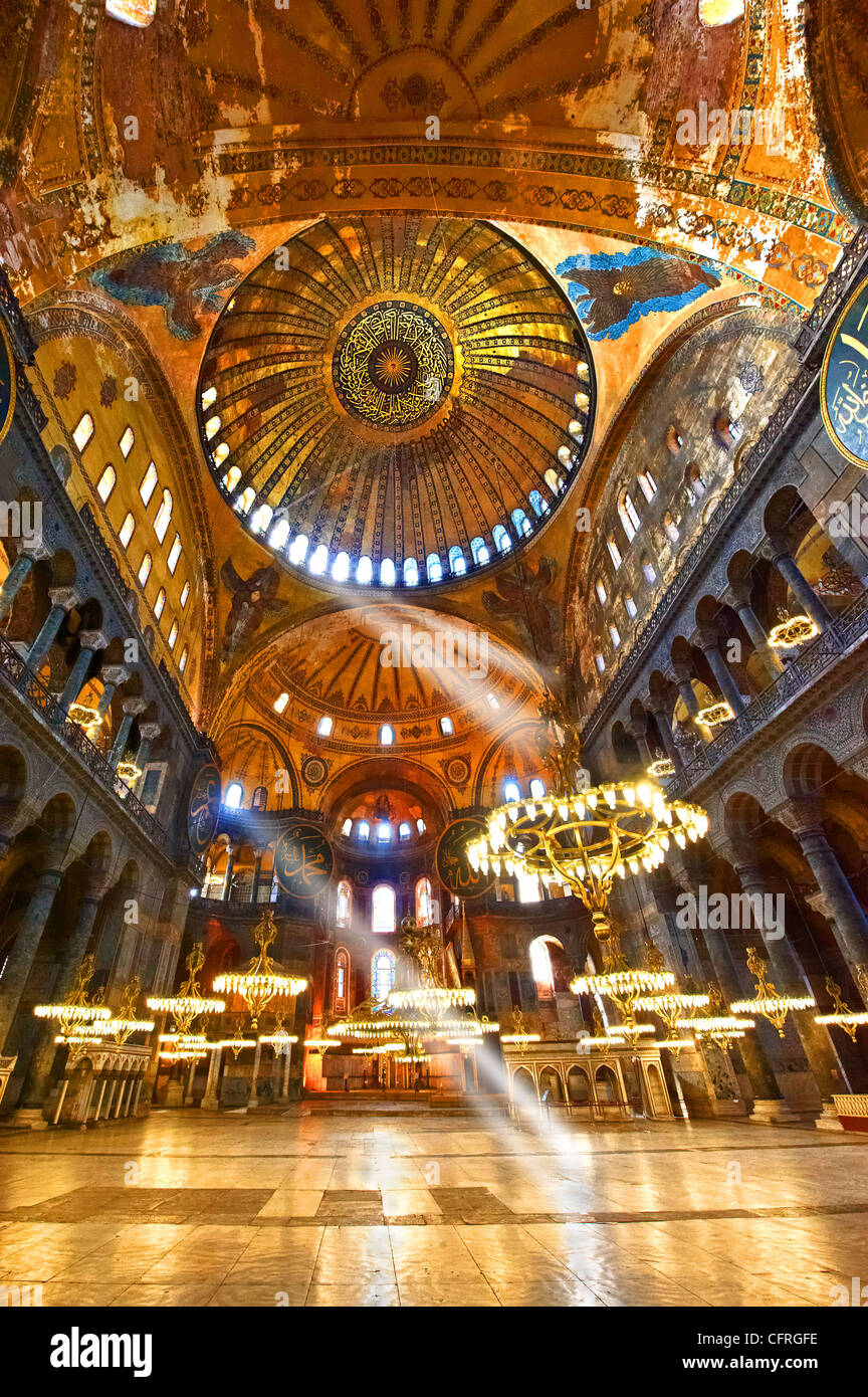 The Islamic decoration on the domes of the interior of Hagia Sophia ( Ayasofya ) , Istanbul, Turkey - Stock Image