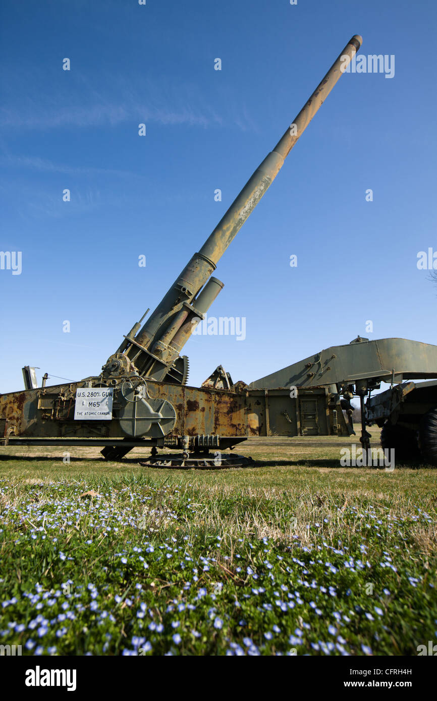 Atomic cannon at the former US Army Ordnance Museum, Aberdeen Proving Grounds, Aberdeen, Maryland - Stock Image