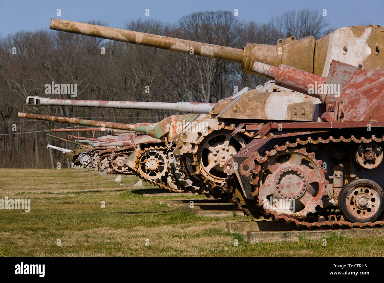 Field of rusting tanks remain at the former US Army Ordnance Museum, Aberdeen Proving Grounds, Aberdeen, Maryland - Stock Image