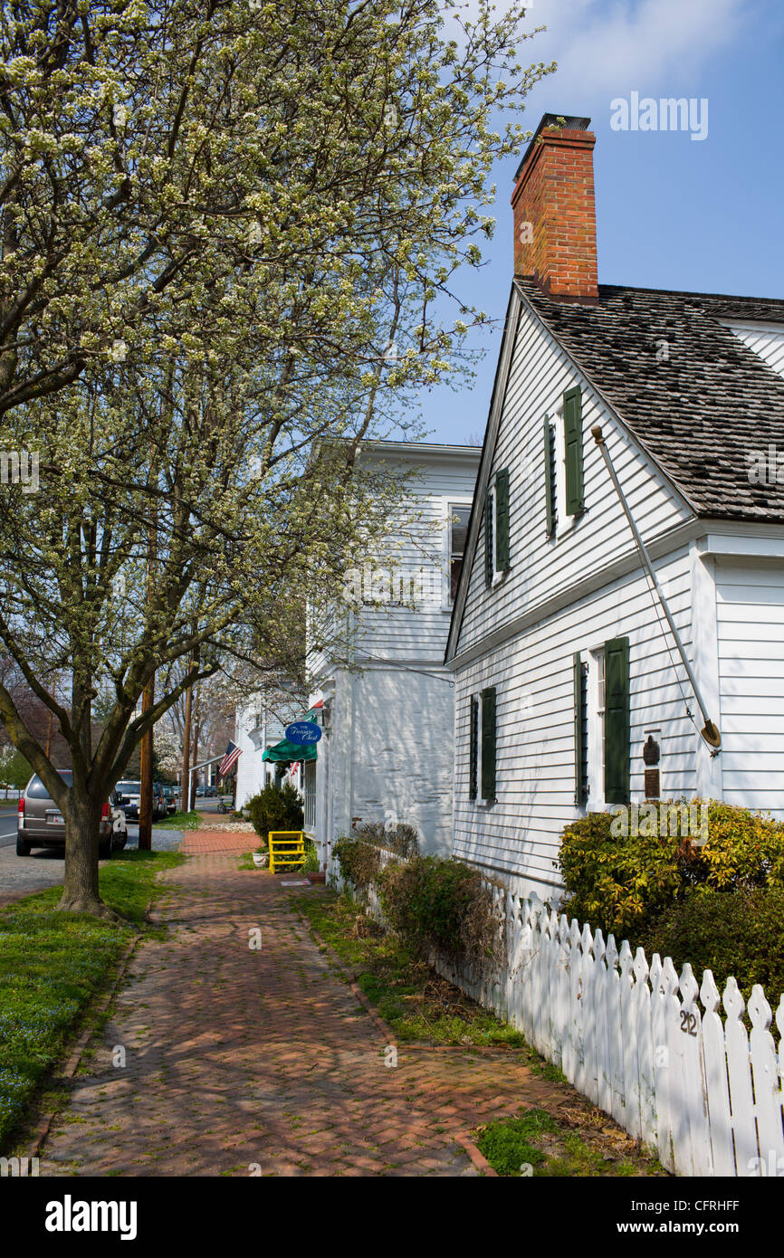 The charming Morris Street of Oxford, Maryland, Eastern Shore - Stock Image