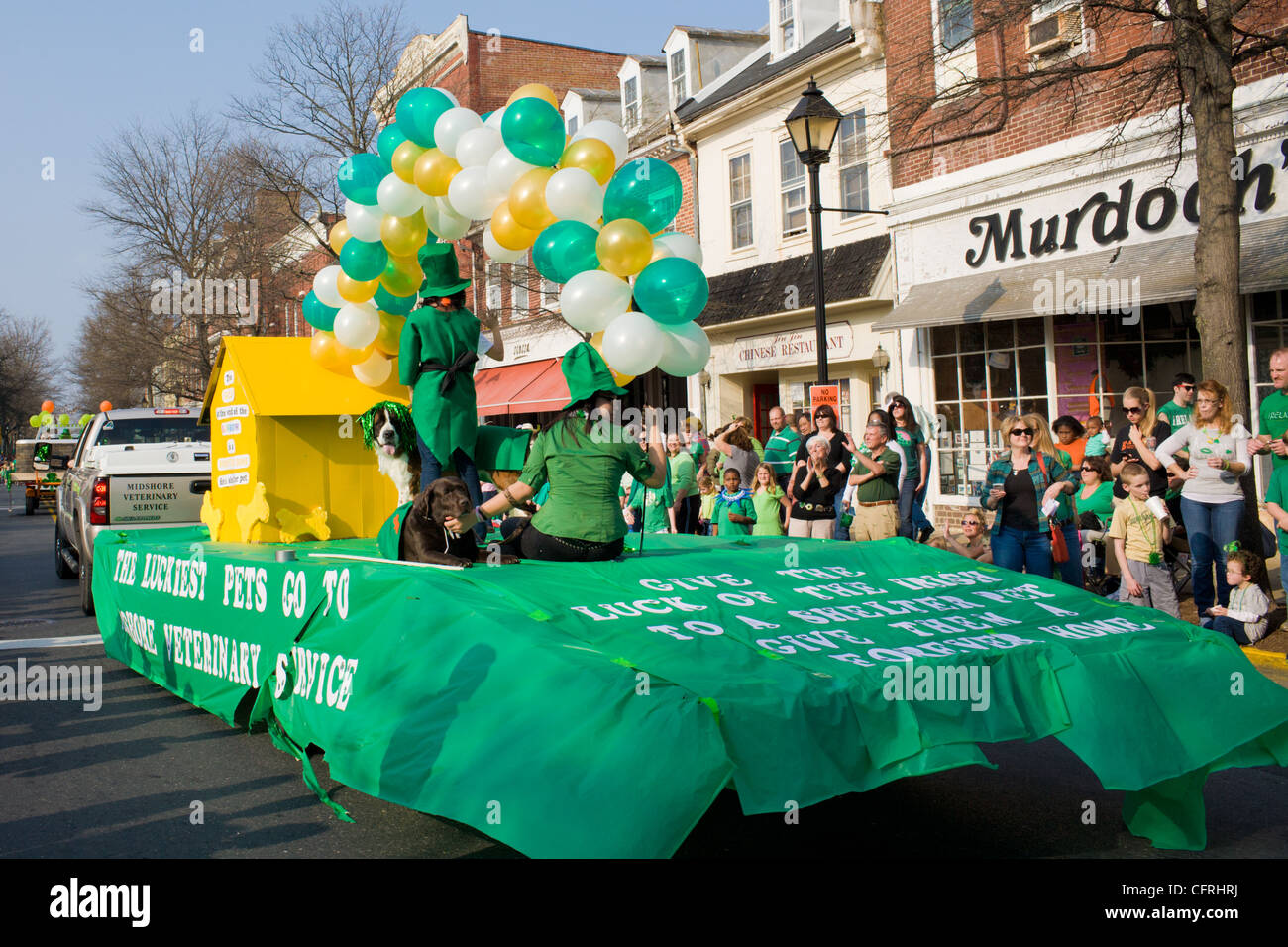 St. Patrick's Day parade, Easton, Maryland, Talbot County, Eastern Shore - Stock Image