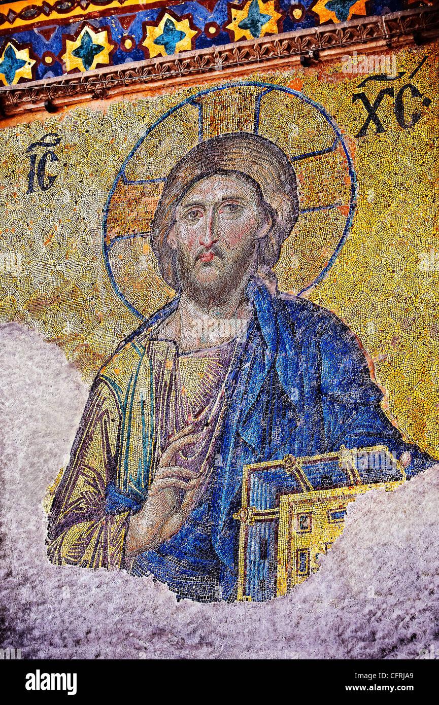 Byzantine mosaic of Christ Pantocrator,  Church of the Holy Wisdom ( Hagia Sophia Ayasofya ) Istanbul Turkey - Stock Image