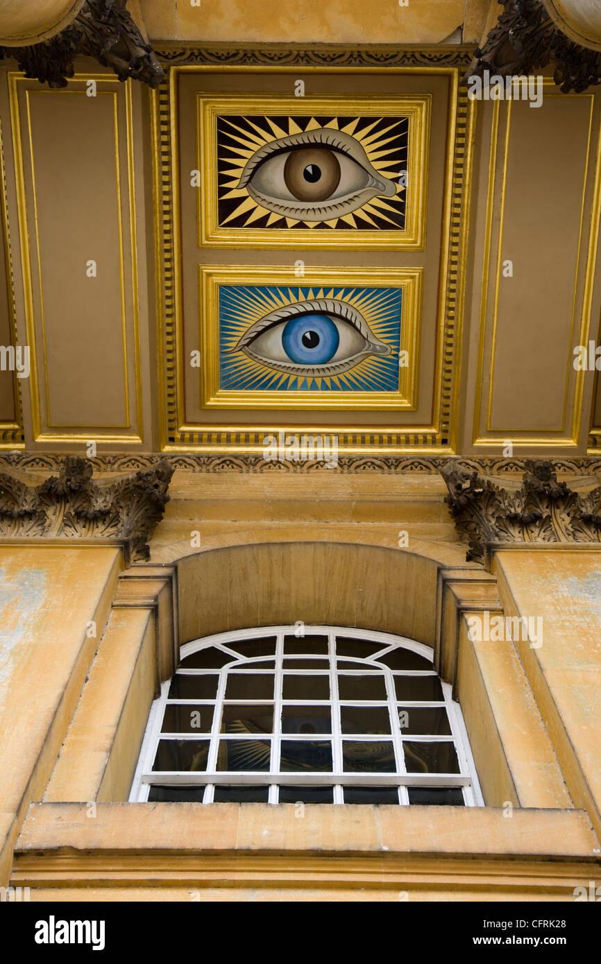 Painted eyes over the entrance of Blenheim Palace stately home - Stock Image