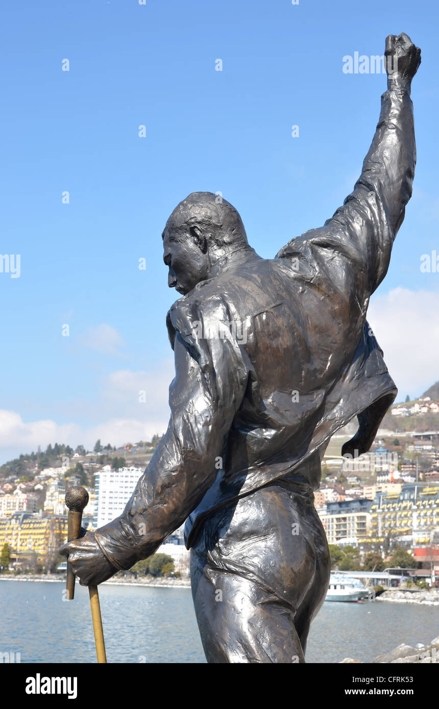 Bronze statue erected in honour of the singer song writer Freddie Mercury at Montreux on the shore of Lake Geneva, Stock Photo