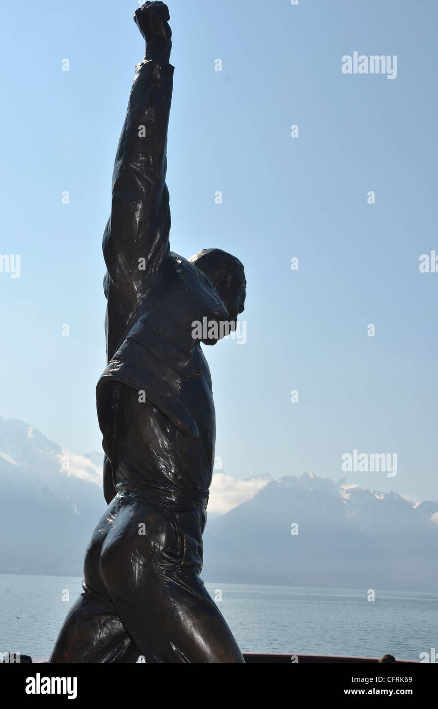 Bronze statue erected in honour of Freddie Mercury of Queen, at Montreux, Switzerland where he lived Stock Photo
