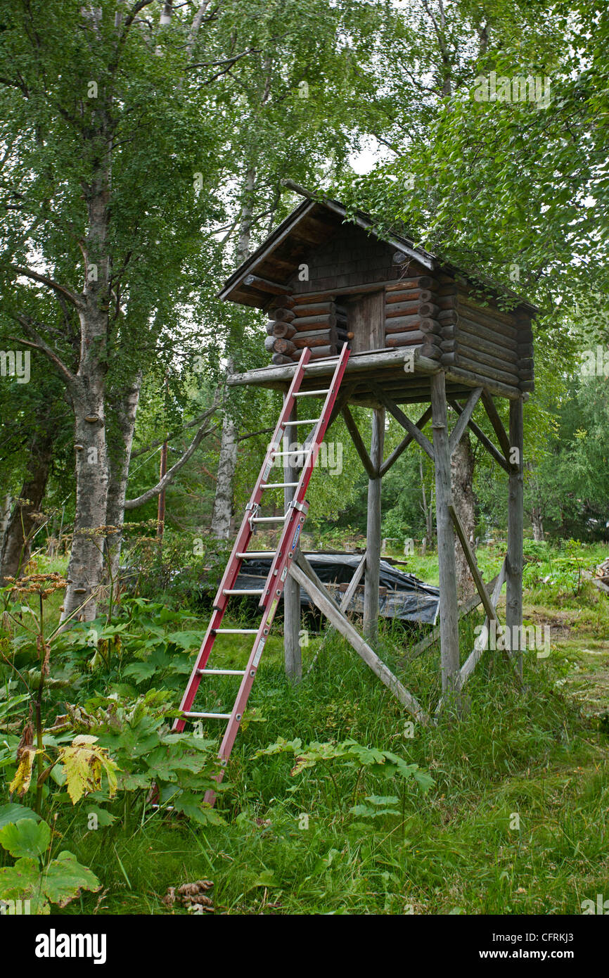 Food cache used to avoid bears and other wild animals. Alaska. USA - Stock Image
