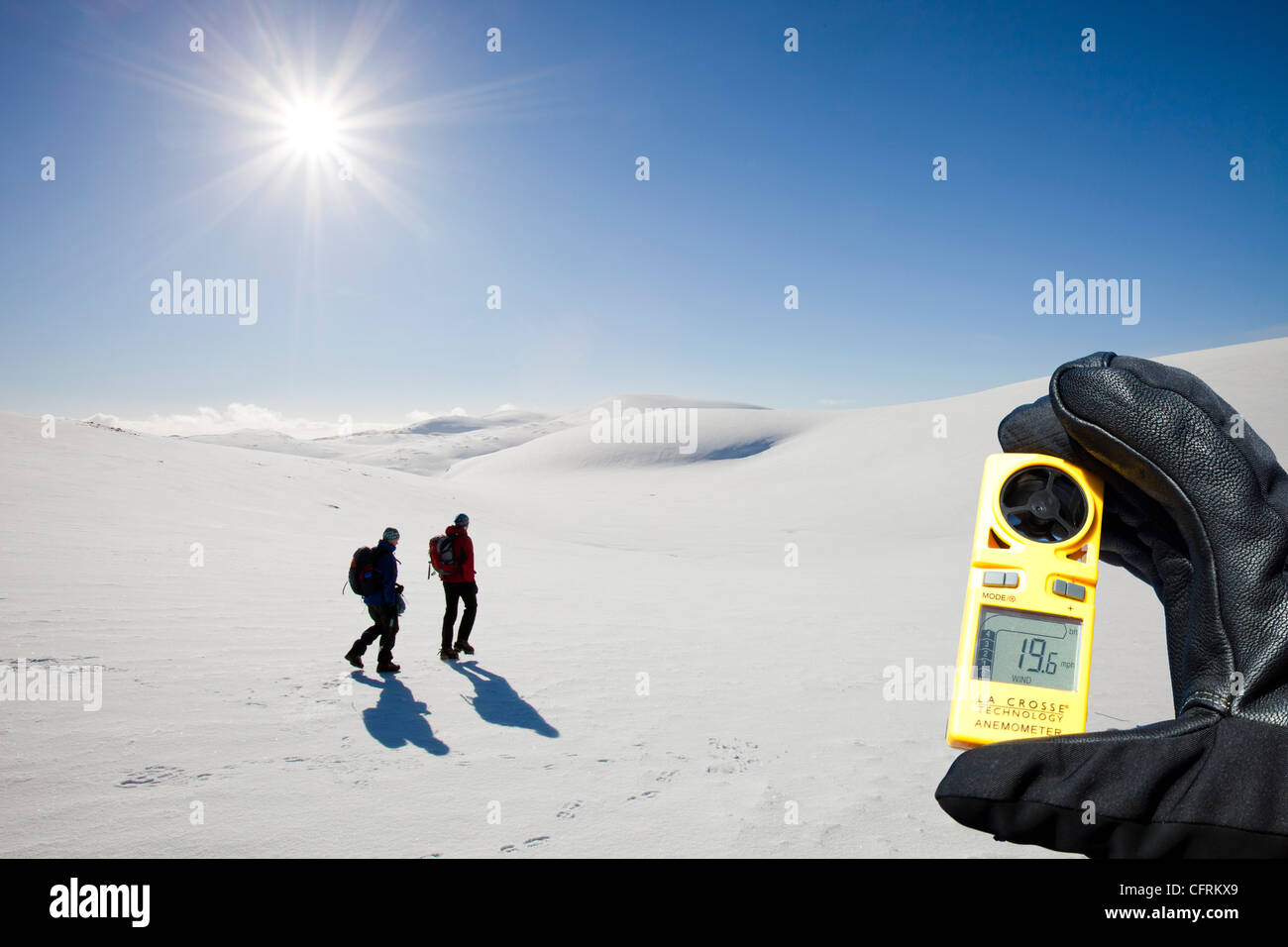 Mountaineers on the Cairngorm plateau, Cairngorm mountains, Scotland, UK, in full winter conditions. Stock Photo