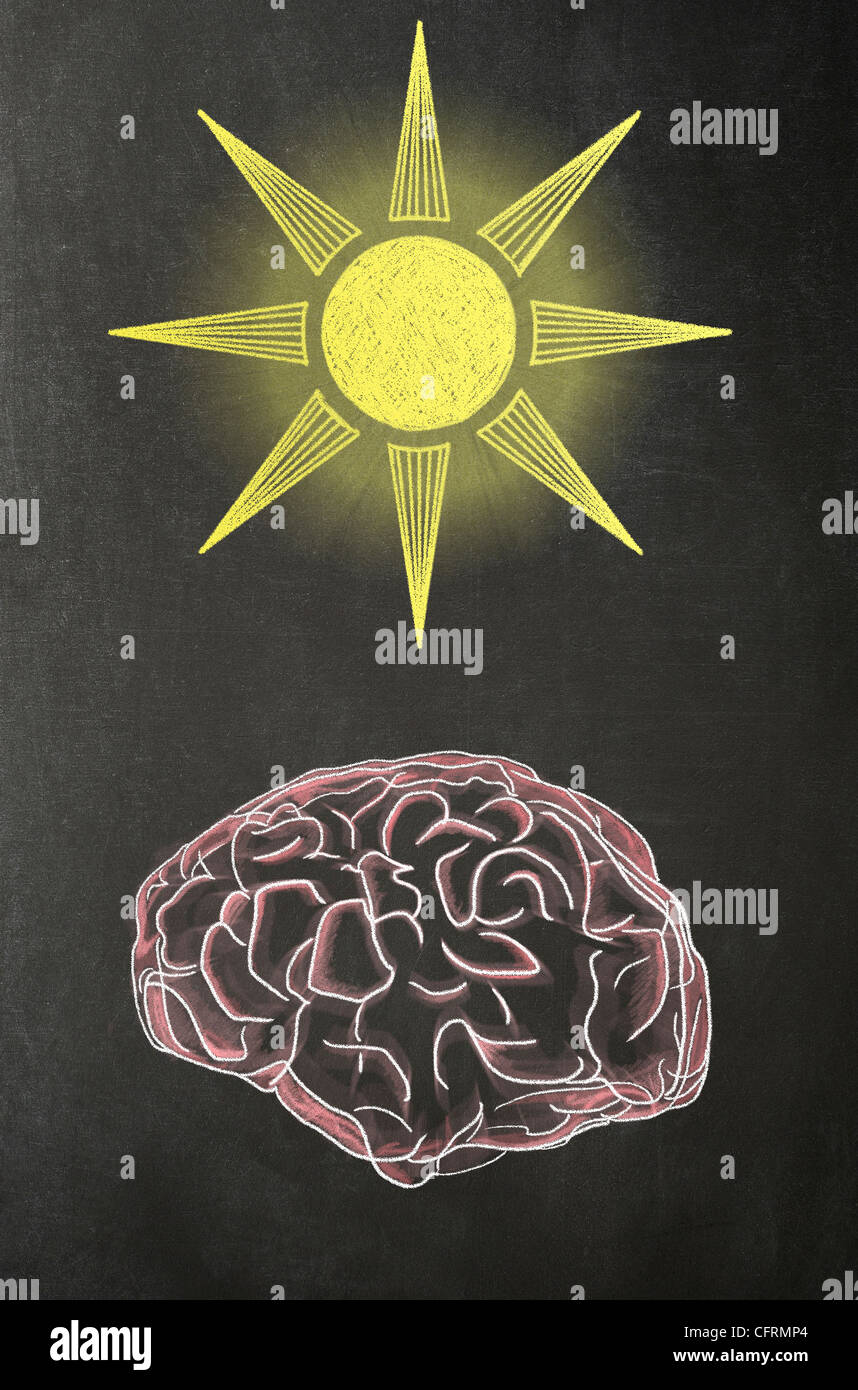 Illustration in chalk of a human brain with a Sun above it on a blackboard - Stock Image