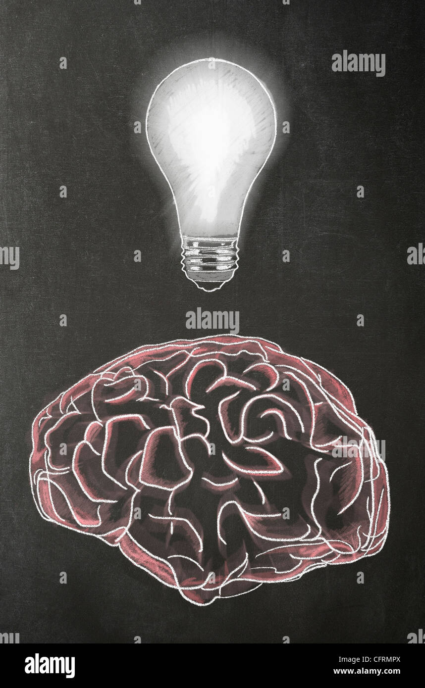 Illustration in chalk of a human brain with a light bulb above it on a blackboard Stock Photo