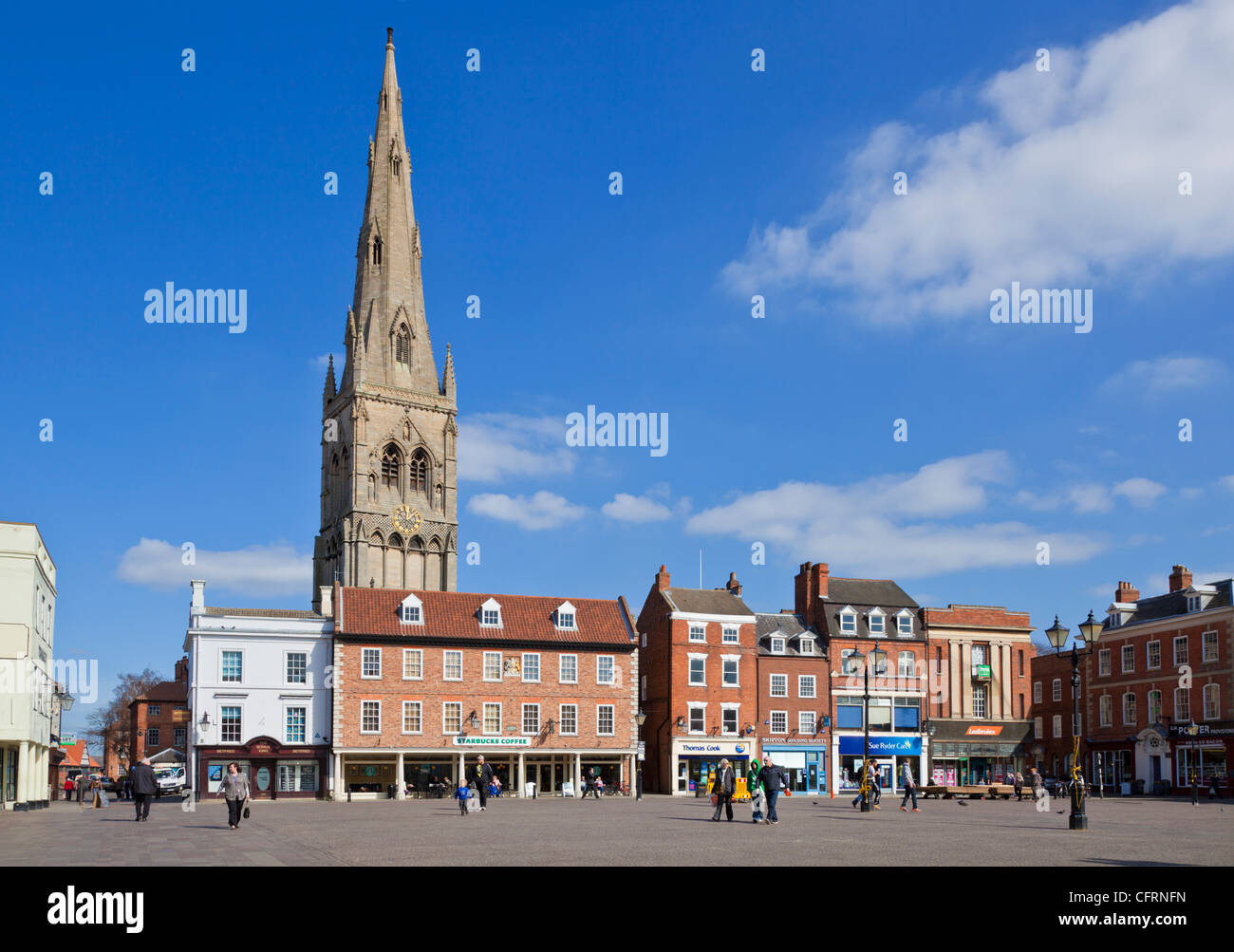 Spire of Church of St. Mary Magadalene Newark-on-Trent Nottinghamshire UK GB EU Europe - Stock Image