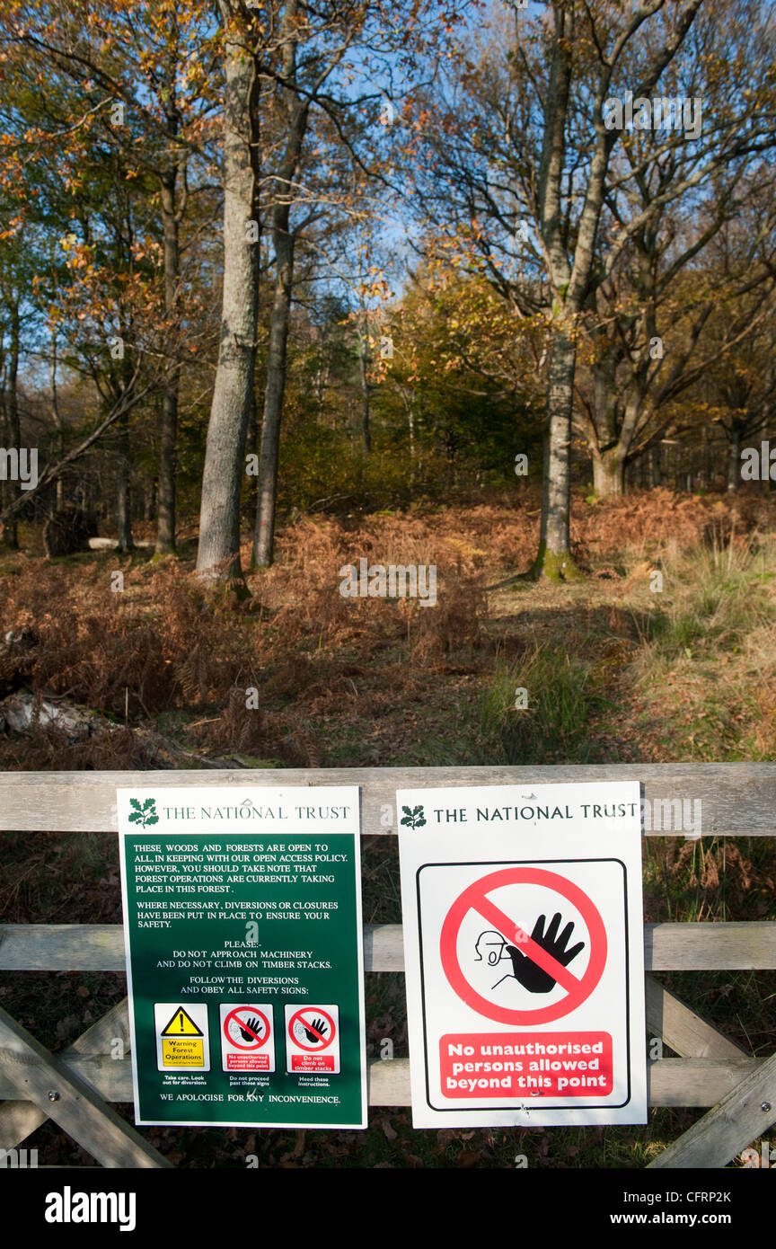 Warning sign on National Trust ground restricting access because of forestry work. - Stock Image
